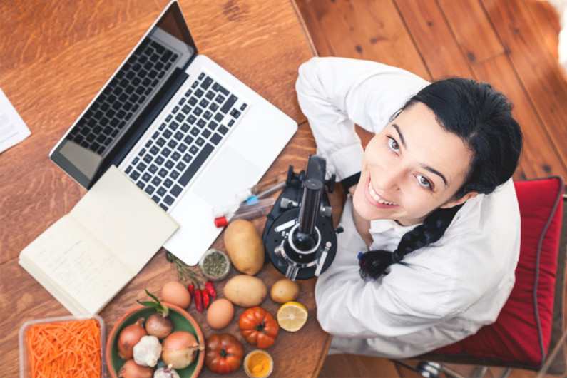 A food technologist researching new food products from vegetables