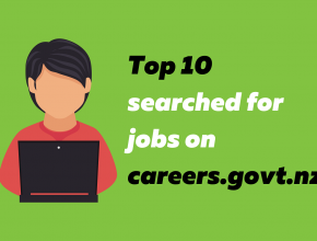 Top 10 jobs searched for jobs on careers.govt.nz. An illustration of a person on a laptop.