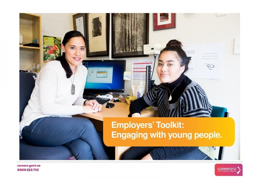 Employer toolkit front page. The image is of a Maori female doctor talking to a young Maori female student in a doctor's clinic.